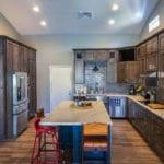 Floor: Luxury Vinyl Plank (Wood title look) | Countertops